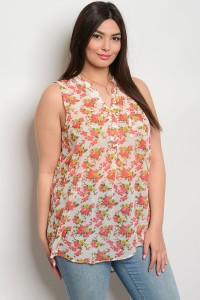 S8-14-2-T6763SFX IVORY RED YELLOW PLUS SIZE TOP 2-2-2