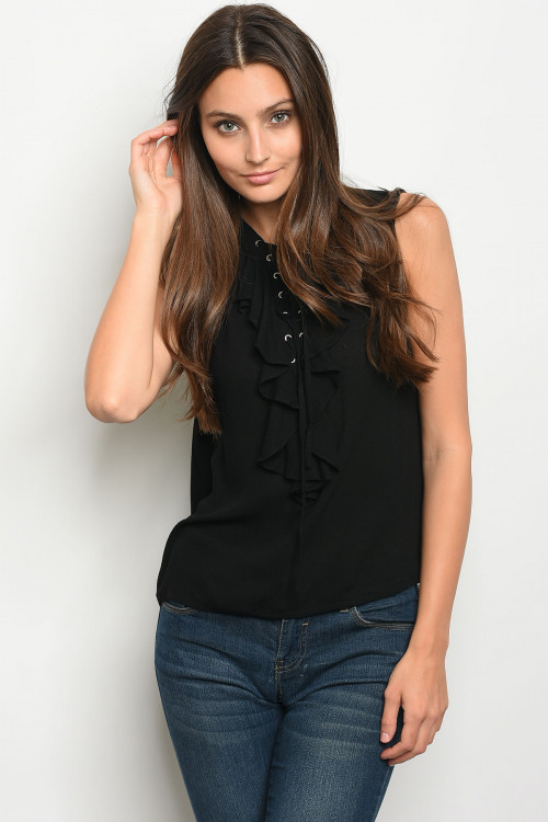 111-1-2-T8537 BLACK LACE-UP RUFFLE TOP 3-2-1