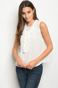111-1-4-T8537 OFF WHITE LACE-UP RUFFLE TOP 3-2-1