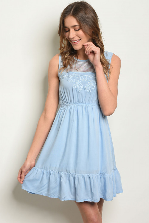 111-2-2-D3129 BLUE EMBROIDERY DRESS 3-2