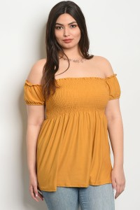 C5-A-3-TZ8294 MUSTARD PLUS SIZE TOP 2-2-2