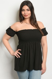C17-B-2-TZ8294 BLACK PLUS SIZE TOP 2-2-2