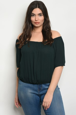 C37-A-6-TZ8422S DARK GREEN PLUS SIZE TOP 2-2-2