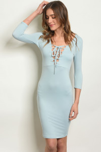 C13-A-3-D6045 BLUE LACE-UP DRESS 2-2-2