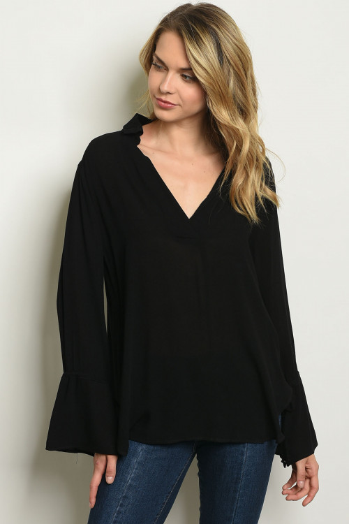 124-2-2-T68027 BLACK BELL SLEEVE TOP 3-3