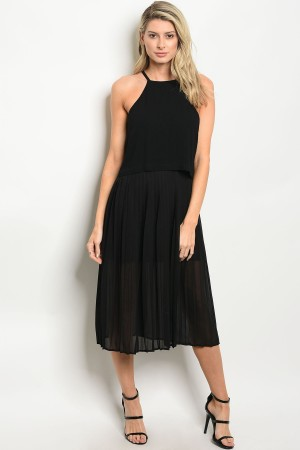 S9-4-1-D8360 BLACK PLEATED DRESS 3-2-1