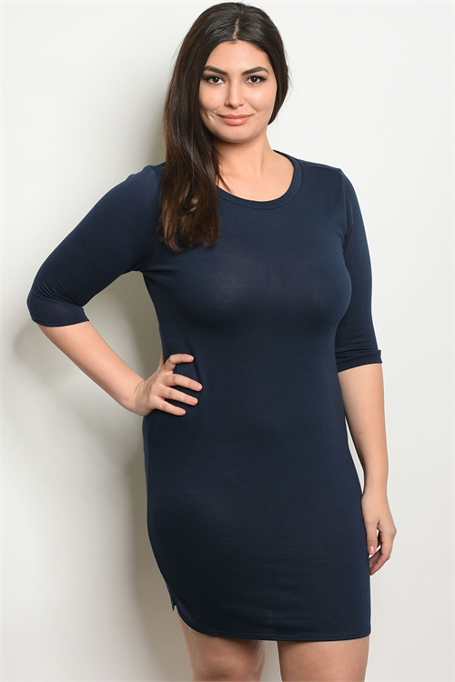 105-2-2-D4897X NAVY PLUS SIZE DRESS 2-2