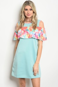 132-2-2-D1457 MINT FLOWER DRESS 2-2