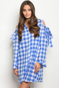 C49-A-3-DT3780 BLUE WHITE GINGHAM DRESS 2-2-2