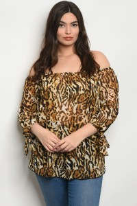 C10-B-3-T15093X BROWN ANIMAL PRINT PLUS SIZE TOP 2-2-2