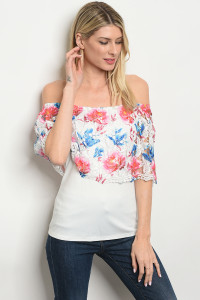 S14-3-1-T1447 IVORY BLUE FLORAL CROCHET OFF SHOULDER TOP 2-2-2
