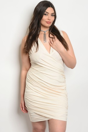 S14-6-2-D51844PX CREAM PLUS SIZE DRESS 2-2-2