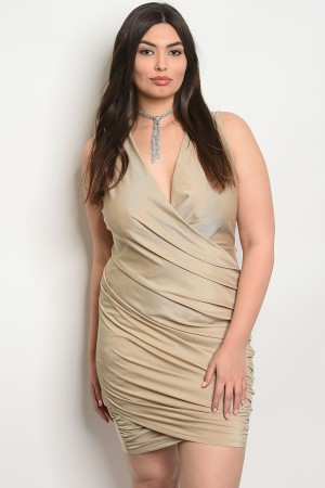 S18-2-4-D51844PX TAUPE PLUS SIZE DRESS 2-2-2