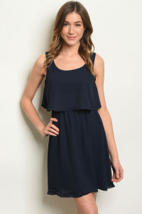 S7-3-4-D3613 NAVY RUFFLE DRESS 3-2-1