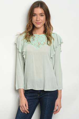 S11-8-1-T8502 MINT LACE RUFFLE TOP 2-2-2