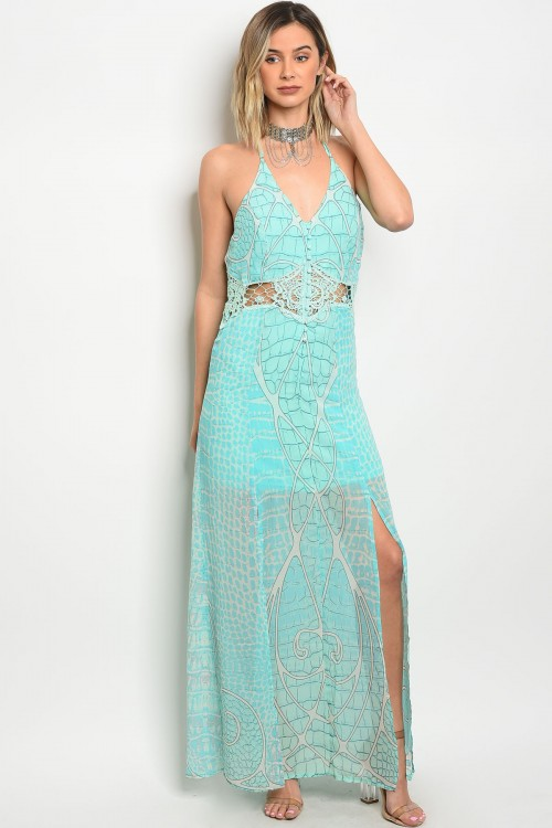 S16-1-2-D1016 MINT BLUE CROCHET DRESS 3-2