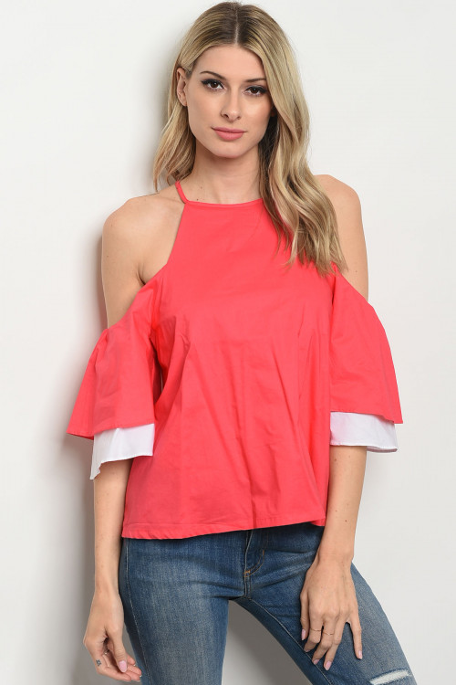 S20-7-2-TY13680 CORAL COLD SHOULDER TOP 2-2