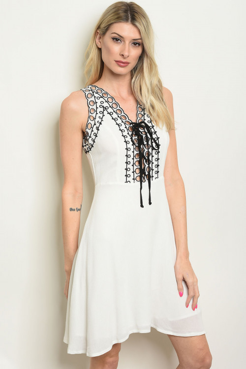 S20-7-2-DR13428 WHITE BLACK DRESS / 5PCS