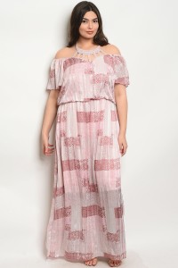 C69-A-2-D15945X PINK MULTI PLUS SIZE DRESS 2-2-2