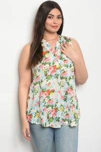 S11-7-1-TZB2773X WHITE WITH FLOWERS PLUS SIZE TOP 2-2-2