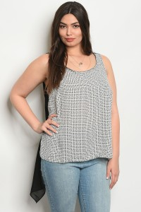 108-3-3-T10532X BLACK WHITE PLUS SIZE TOP 1-2-3-2-1