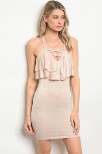C38-A-3-D6470 TAUPE RUFFLE DRESS 2-2-2