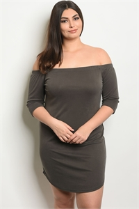 C91-A-2-D15157X DARK OLIVE PLUS SIZE DRESS 2-2-2