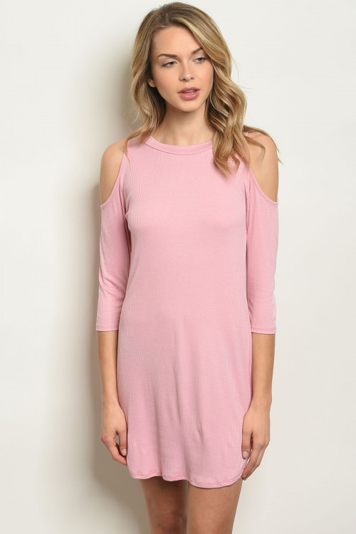 C85-A-1-D50710 PINK COLD SHOULDER DRESS 1-2-2