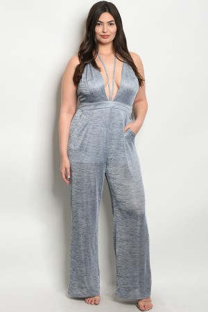 S12-1-4-J17106X NAVY GRAY PLUS SIZE JUMPSUIT 2-2-2