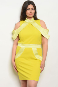 S9-14-3-D8407X LIME PLUS SIZE DRESS 2-2-2