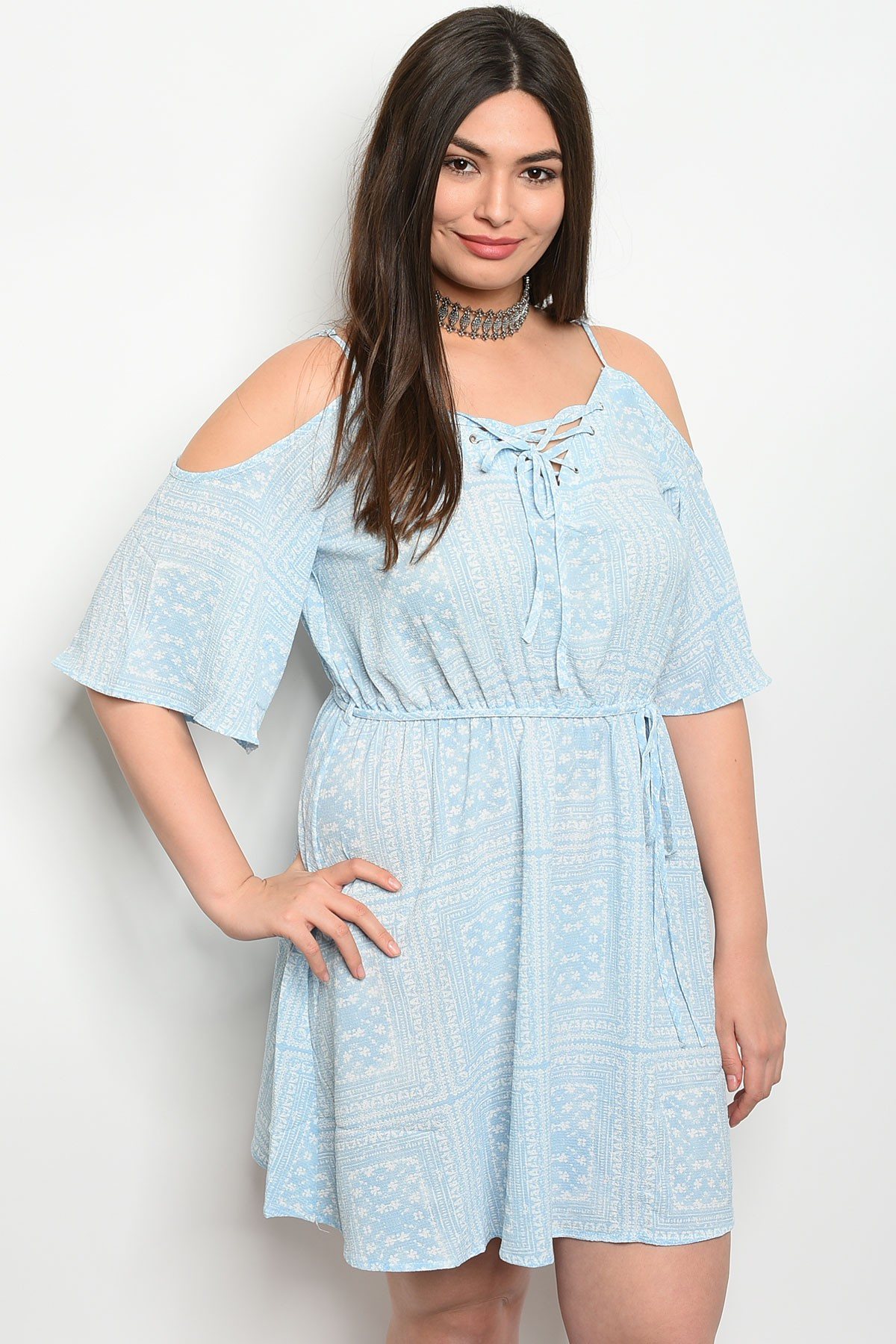 2847bcbe9b8 S12-12-2-D1494X SKY BLUE WHITE PLUS SIZE DRESS 2-2. Larger Photo ...