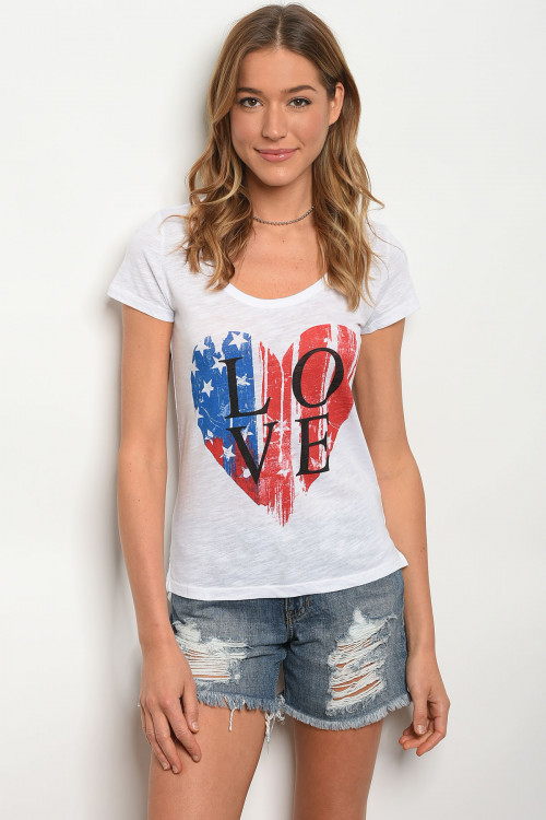 117-1-3-T601451 WHITE LOVE PRINT GRAPHIC TEE TOP 2-2-2