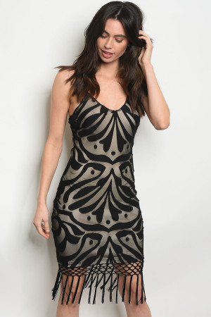 134-3-2-D8436 BLACK NUDE DRESS 2-2-2