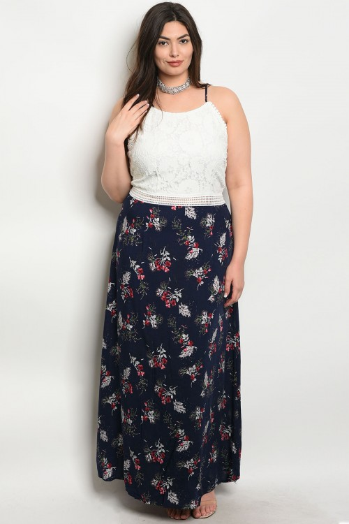 S15-6-4-D59027X WHITE NAVY PLUS SIZE DRESS 2-2-2