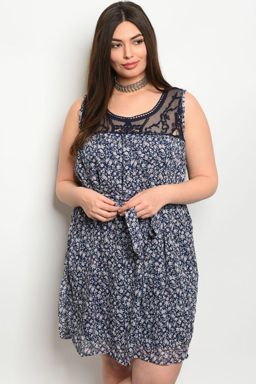 S17-4-4-DCD2935 NAVY FLORAL PLUS SIZE DRESS 2-2-2
