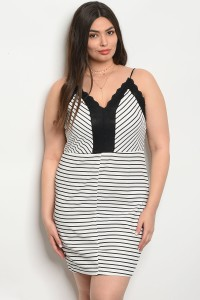 S9-20-4-DCD3300 IVORY BLACK STRIPES PLUS SIZE DRESS 2-2-2