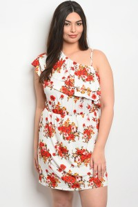 S23-11-1-D3550X IVORY FLORAL PLUS SIZE DRESS 1-2-1