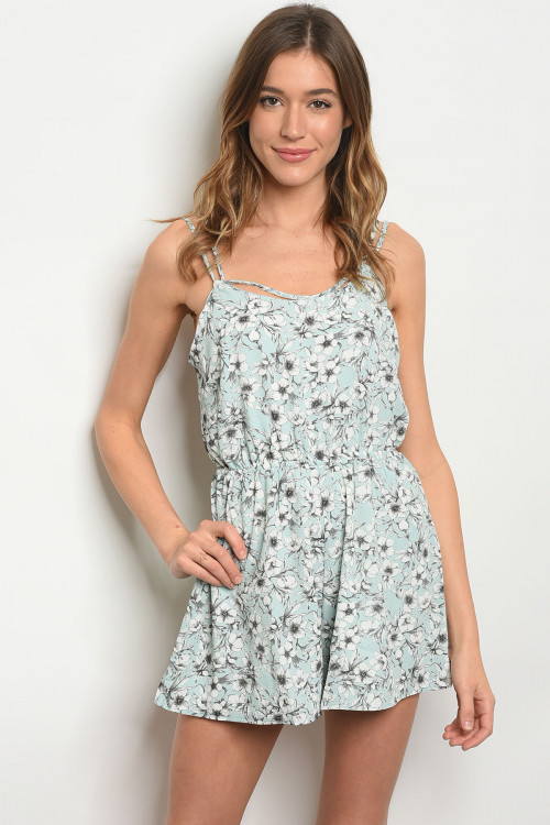 S16-6-2-R703093 MINT IVORY FLORAL ROMPER 2-2-2