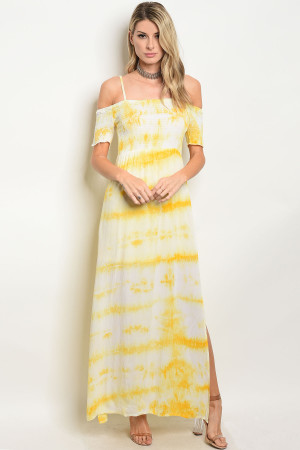 S8-5-1-D32045 YELLOW TYE DYE DRESS 2-2-2