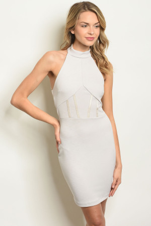 C86-A-5-D6419 LIGHT GREY CORSET DRESS 2-2-2