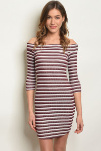 C95-A-6-D31063 WHITE BURGUNDY NAVY STRIPE OFF SHOULDER DRESS 2-2-2