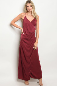 C17-A-1-D9304 WINE SATIN MAXI DRESS 1-3