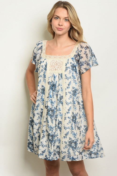 S18-3-4-D1075 CREAM BLUE FLORAL DRESS 2-2-2