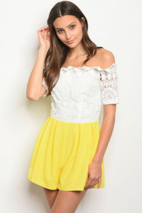 111-4-1-R219545 WHITE YELLOW CROCHET ROMPER 2-2-2