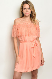 S8-6-2-D13588 PEACH LACE OFF SHOULDER DRESS 3-2-1