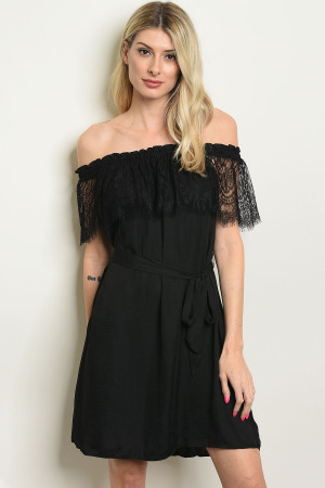 S8-6-2-D13588 BLACK LACE OFF SHOULDER DRESS 3-2-1
