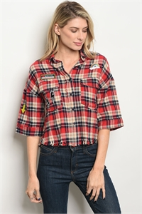 S21-7-5-T1946 RED CREAM PLAID TOP 3-2-1
