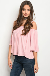 125-3-1-T10827 PINK OFF SHOULDER TOP 3-2-1