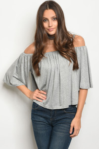 125-3-1-T10827 GRAY OFF SHOULDER TOP 3-2-1