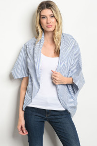 C54-B-3-C11143 BLUE WHITE STRIPES CARDIGAN 3-3